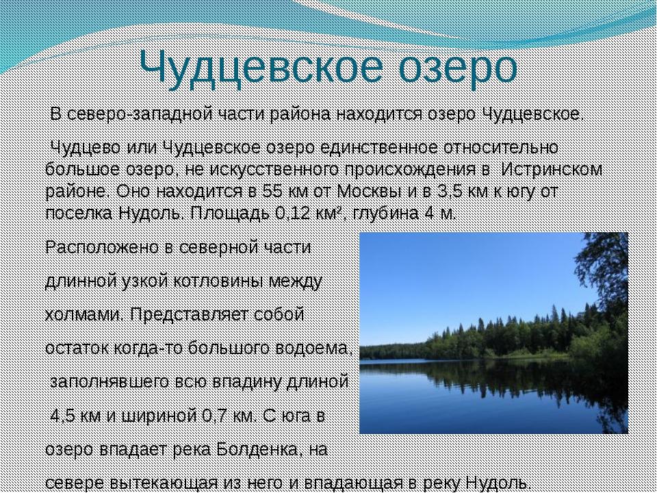 Чудцевское озеро  В северо-западной части района находится озеро Чудцевское....