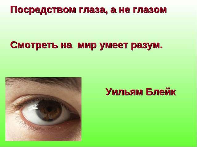 Посредством глаза, а не глазом Смотреть на мир умеет разум. Уильям Блейк