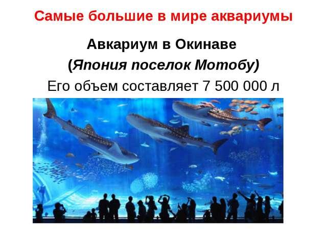 Самые большие в мире аквариумы Авкариум в Окинаве (Япония поселок Мотобу) Его...