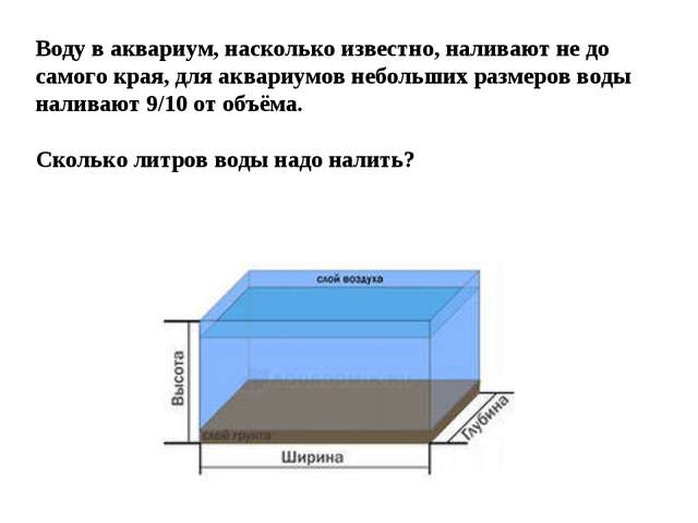 Воду в аквариум, насколько известно, наливают не до самого края, для аквариум...