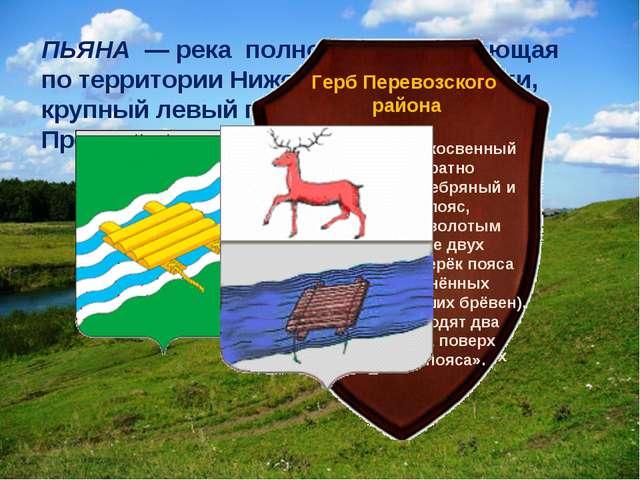 ПЬЯНА — река полностью протекающая по территории Нижегородской области, кру...
