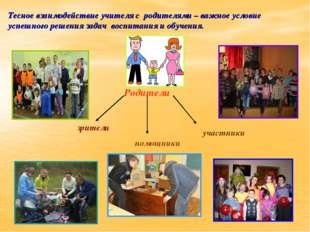 Тесное взаимодействие учителя с родителями – важное условие успешного решения