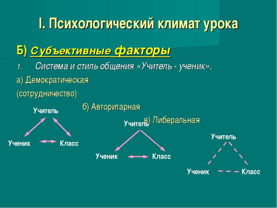 I. Психологический климат урока Б) Субъективные факторы Система и стиль общен...