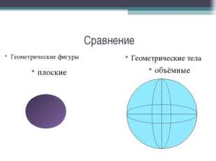 Сравнение Геометрические фигуры Геометрические тела плоские объёмные