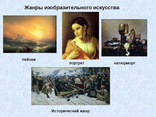 Жанры изобразительного искусства пейзаж портрет натюрморт Исторический жанр