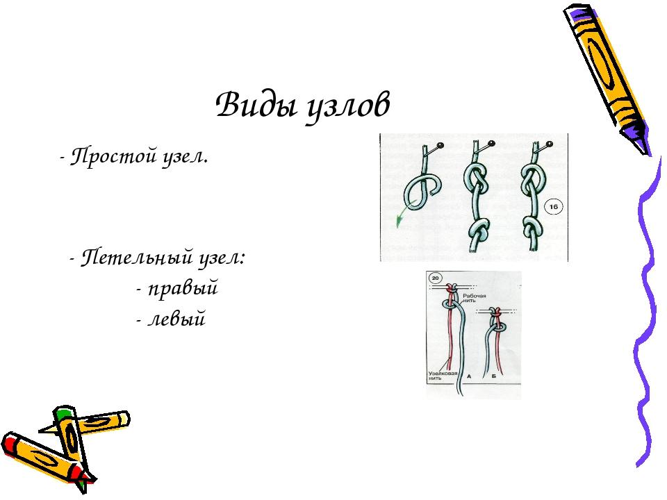 Виды узлов - Простой узел. - Петельный узел: - правый - левый