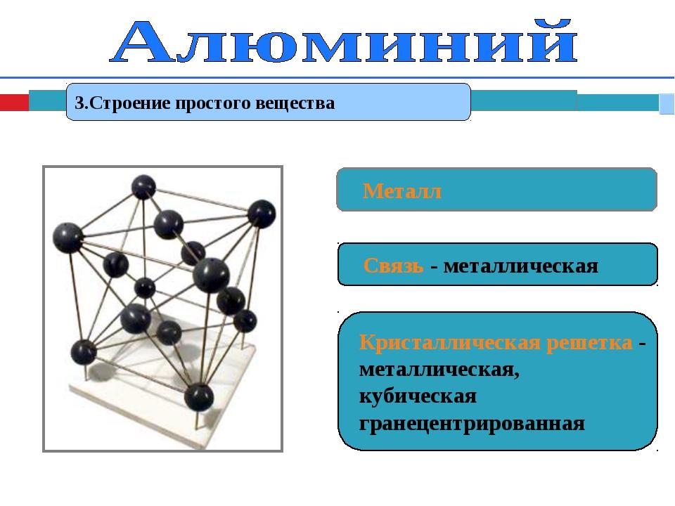 3.Строение простого вещества Металл Связь - металлическая Кристаллическая реш...