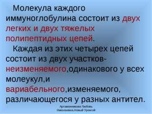Артамонникова Любовь Николаевна,Новый Уренгой Молекула каждого иммуноглобулин