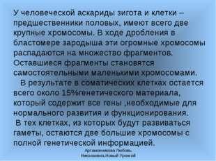 Артамонникова Любовь Николаевна,Новый Уренгой У человеческой аскариды зигота