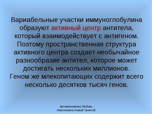 Артамонникова Любовь Николаевна,Новый Уренгой Вариабельные участки иммуноглоб...
