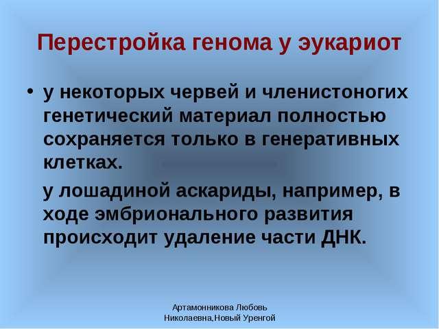 Артамонникова Любовь Николаевна,Новый Уренгой Перестройка генома у эукариот у...