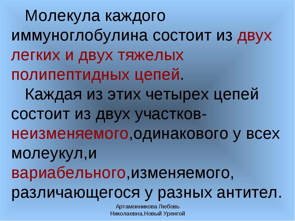 Артамонникова Любовь Николаевна,Новый Уренгой Молекула каждого иммуноглобулин...