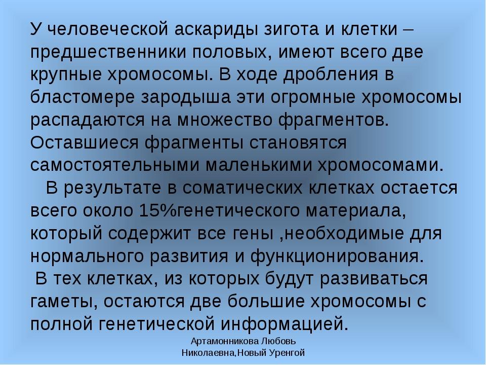 Артамонникова Любовь Николаевна,Новый Уренгой У человеческой аскариды зигота...