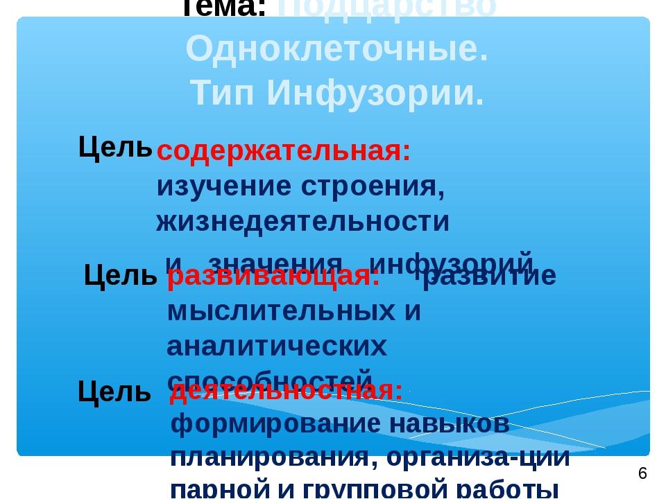 Тема: Подцарство Одноклеточные. Тип Инфузории. Цель содержательная: изучение...