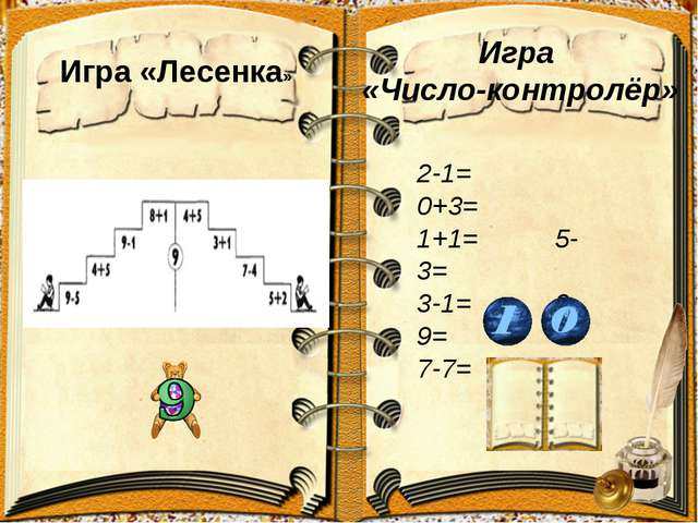 Игра «Лесенка» Игра «Число-контролёр» 2-1= 0+3= 1+1= 5-3= 3-1= 9-9= 7-7=