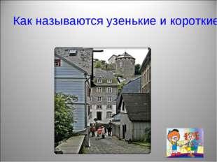 Как называются узенькие и короткие улицы?