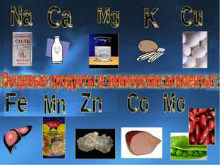 Пищевые продукты и химические элементы!