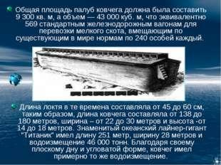 Общая площадь палуб ковчега должна была составить 9 300 кв. м, а объем — 43 0