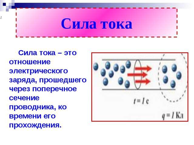 Сила тока Сила тока – это отношение электрического заряда, прошедшего через п...