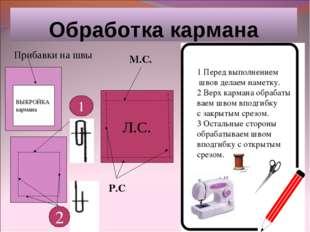 Обработка кармана ВЫКРОЙКА кармана Прибавки на швы Л.С. М.С. Р.С 1 2 1 Перед