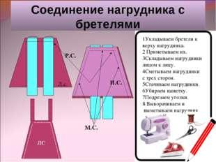 Соединение нагрудника с бретелями Л.с. И.С. Р.С. М.С. 1Укладываем бретели к в