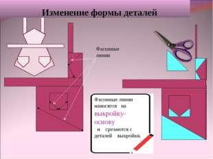 Изменение формы деталей Фасонные линии наносятся на выкройку- основу и среза