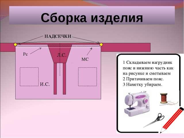 Сборка изделия И.С. Л.С. 1 Складываем нагрудник пояс и нижнюю часть как на ри...