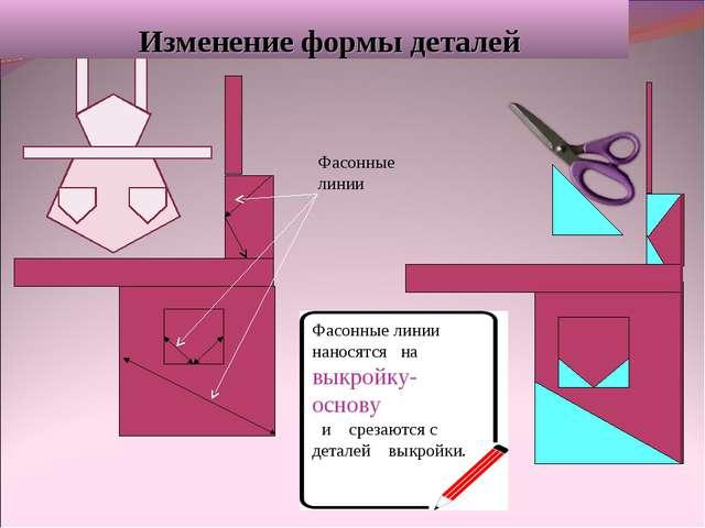 Изменение формы деталей Фасонные линии наносятся на выкройку- основу и среза...