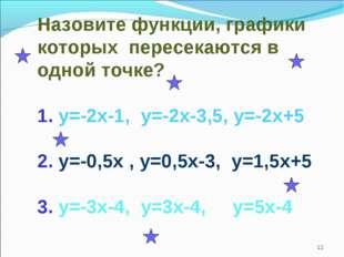 Назовите функции, графики которых пересекаются в одной точке? 1. у=-2х-1, у=-