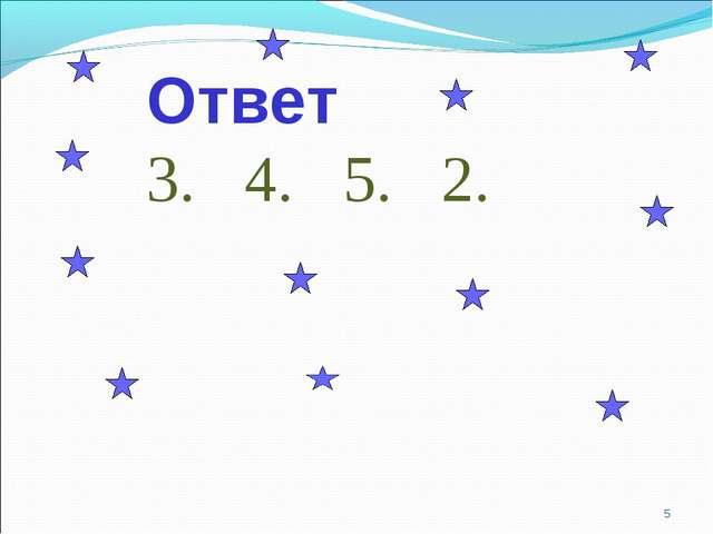 * Ответ 3. 4. 5. 2.