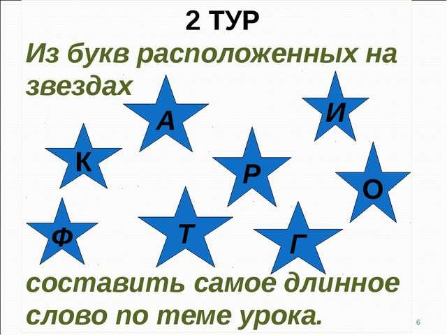 2 ТУР Из букв расположенных на звездах составить самое длинное слово по теме...