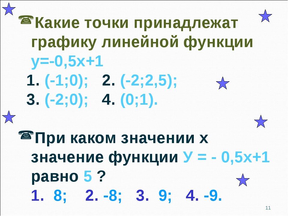 Какие точки принадлежат графику линейной функции у=-0,5х+1 1. (-1;0); 2. (-2;...