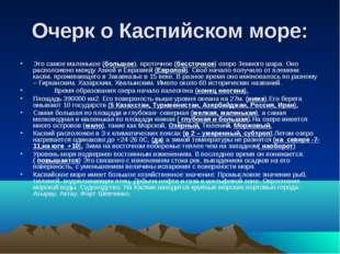 Очерк о Каспийском море: Это самое маленькое (большое), проточное (бессточное