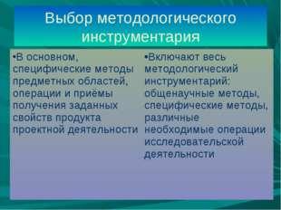 Выбор методологического инструментария В основном, специфические методы предм