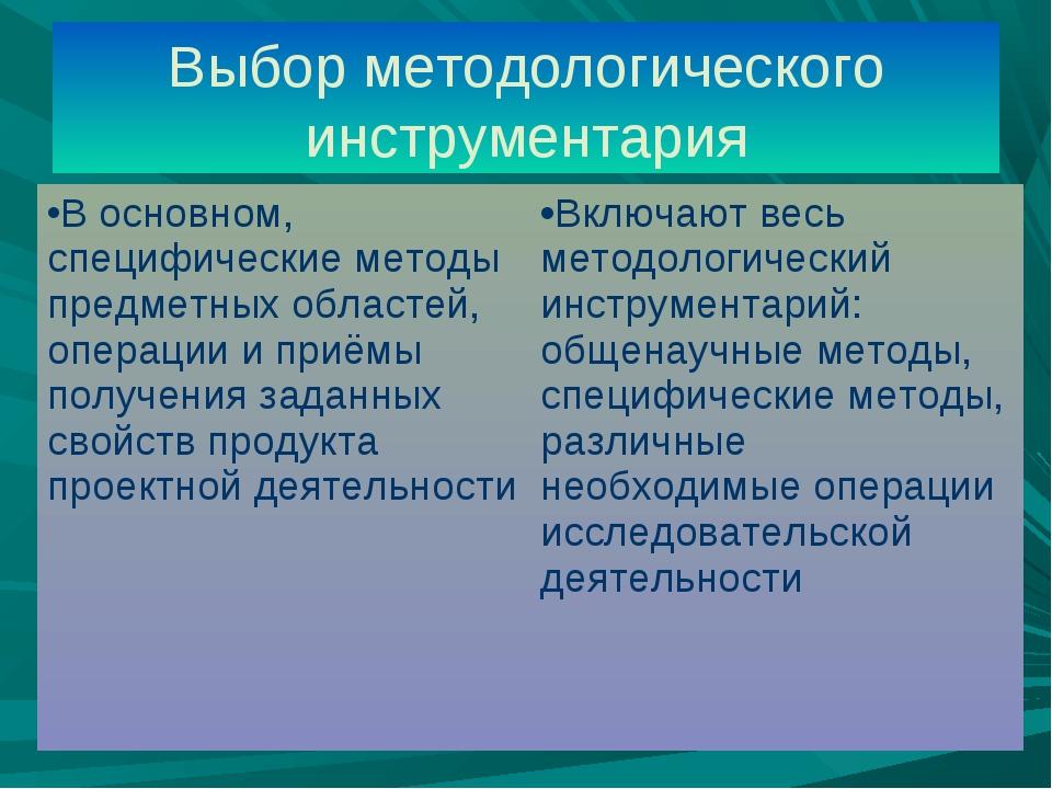 Выбор методологического инструментария В основном, специфические методы предм...