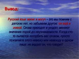 Вывод: Русский язык велик и могуч – это мы помним с детских лет, но забываем