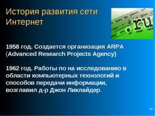* История развития сети Интернет 1958 год. Создается организация ARPA (Advanc