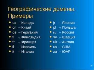 * Географические домены. Примеры ca – Канада cn – Китай de – Германия fi