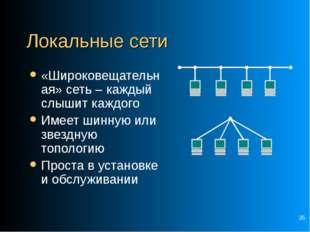 * Локальные сети «Широковещательная» сеть – каждый слышит каждого Имеет шинну
