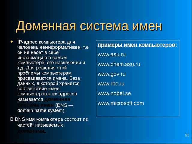 * Доменная система имен IP-адрес компьютера для человека неинформативен, т.е...