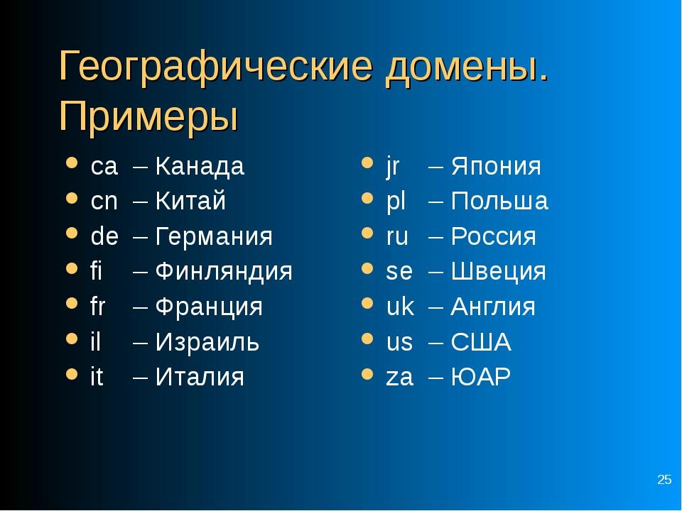 * Географические домены. Примеры ca – Канада cn – Китай de – Германия fi...
