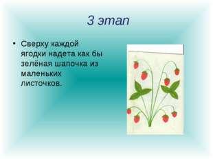 3 этап Сверху каждой ягодки надета как бы зелёная шапочка из маленьких листо