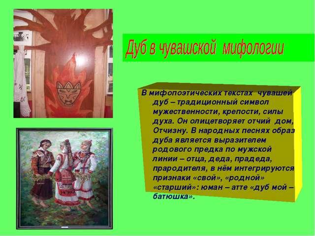 В мифопоэтических текстах чувашей дуб – традиционный символ мужественности, к...