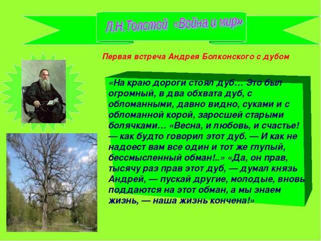 «На краю дороги стоял дуб… Это был огромный, в два обхвата дуб, с обломанными...