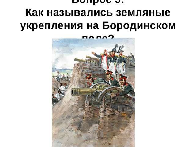 Вопрос 5: Как назывались земляные укрепления на Бородинском поле?