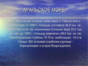 АРАЛЬСКОЕ МОРЕ Арал - бессточное соленое озеро-море в Узбекистане и Казахстан
