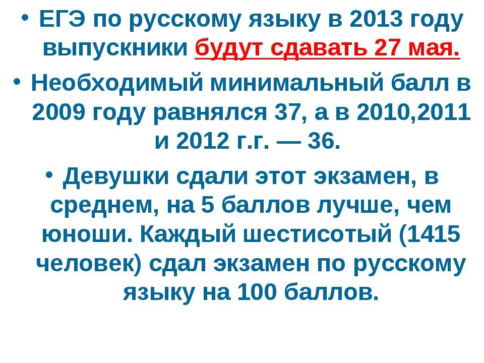 ЕГЭ по русскому языку в 2013 году выпускники будут сдавать 27 мая. Необходимы...
