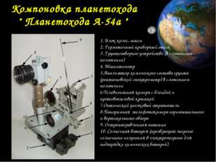 "Компоновка планетохода "" Планетохода А-54а "" 1. Блок колес, шасси 2. Гермети"