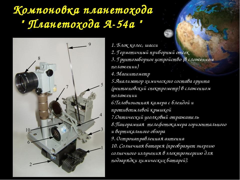 "Компоновка планетохода "" Планетохода А-54а "" 1. Блок колес, шасси 2. Гермети..."