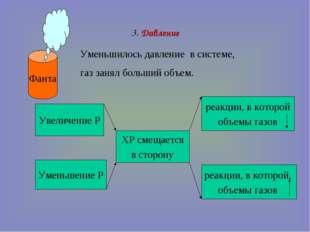 3. Давление Фанта Уменьшилось давление в системе, газ занял больший объем. Ув